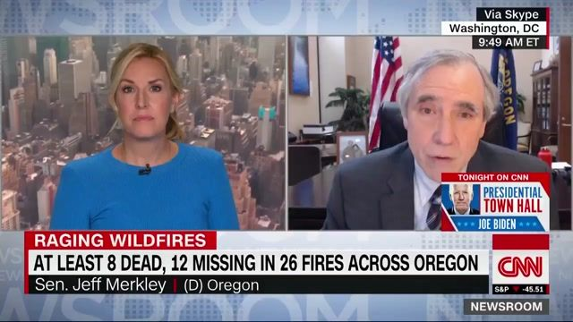 "Sen. Merkley (D) on Oregon wildfires: ""This is apocalyptic … It looks like a World War II town hit by firebombing."""