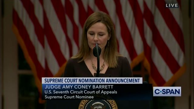 """Amy Coney Barrett concludes her speech: """"I have no illusions that the road ahead of me will be easy..."""""""