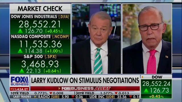"""WH Econ. Adviser Kudlow: Trump """"approved a revised package"""" for COVID relief. Treasury Sec. Mnuchin to meet with Pelosi."""