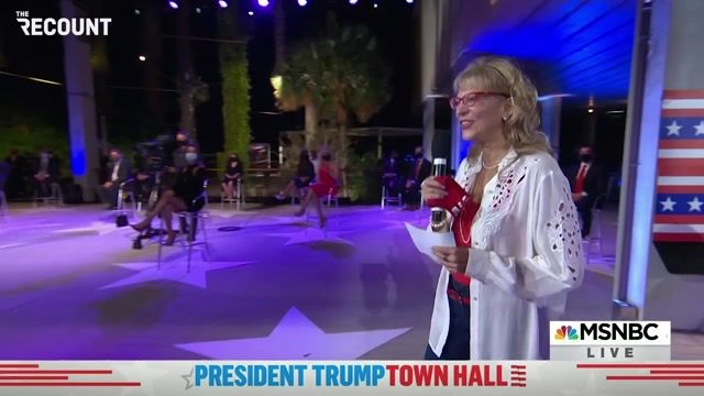 Registered Republican town hall participant compliments Trump's smile.