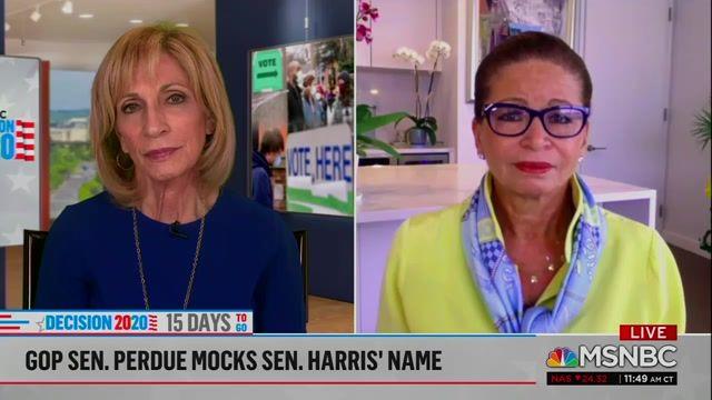 "Former Obama Adviser Valerie Jarrett says Sen. Perdue (R-GA) mispronouncing ""Kamala"" is racist and a ""pattern"" in GOP."