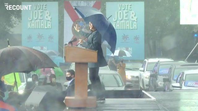 Kamala Harris is dancing in the Florida rain.