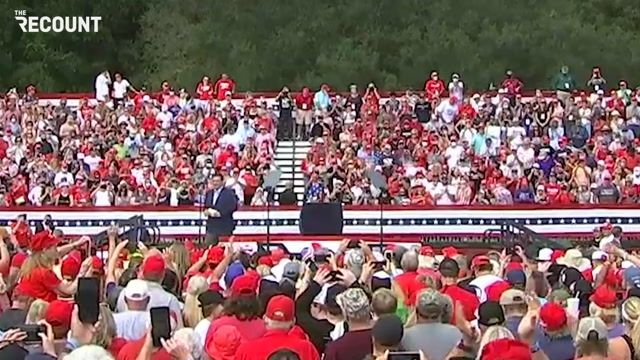 Gov. DeSantis (R-FL) at Trump rally in nation's largest retirement community, The Villages, FL. Many appear unmasked.