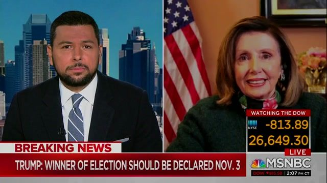 "Speaker Pelosi: Trump casting doubt on ballot process is an effort to ""gin up his base...when he suffers the defeat..."""
