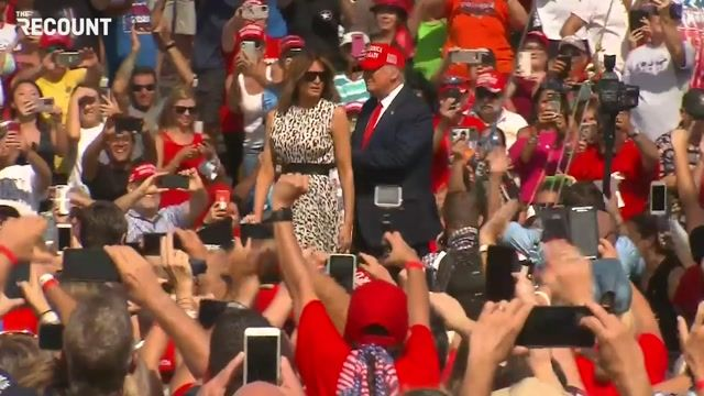 President Trump and First Lady Melania Trump greet a very packed crowd in Florida.