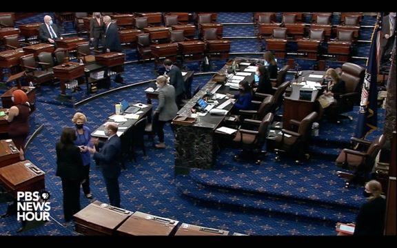Vice President-elect Kamala Harris fist bumps Sen. Lindsey Graham (R-SC) on the Senate floor today.