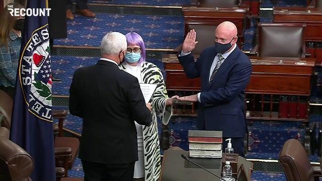 VP Pence swears in former astronaut Mark Kelly as Arizona's newest senator. GOP Senate majority narrows to 52-48.