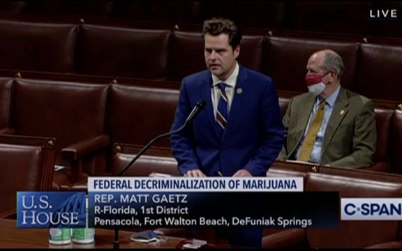 "Rep. Gaetz (R-FL), only Republican to sponsor bill decriminalizing marijuana says in the war on drugs, ""drugs have won."""